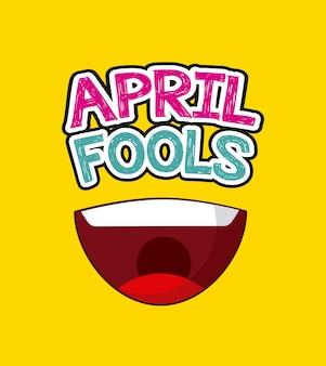 Dia de tolos de abril com ícone de boca feliz