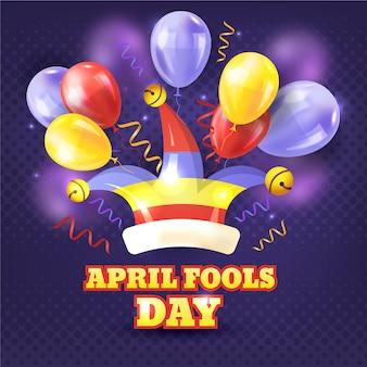 Dia de tolos de abril realista com balões