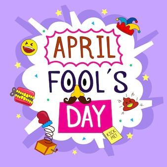 Dia de tolos de mão desenhada abril