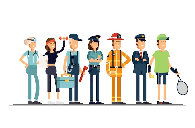 Dia de trabalho. um grupo de pessoas de diferentes profissões, sobre um fundo branco. ilustração em um estilo simples.