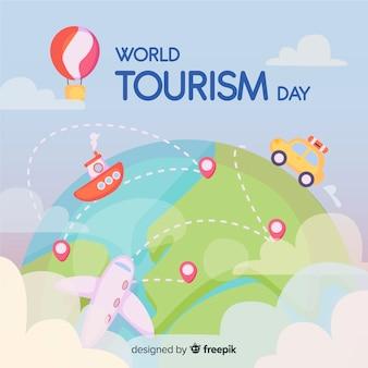 Dia de turismo de mundo desenhado de mão com transporte