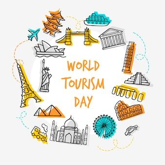 Dia de turismo desenhado de mão com marcos