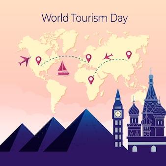 Dia de turismo design plano com monumentos