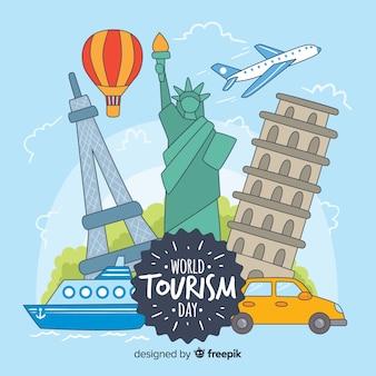 Dia de turismo do mundo desenhado de mão com marcos