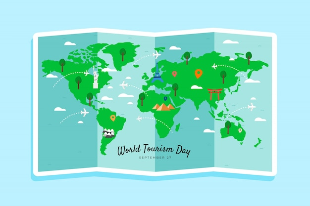 Dia de turismo mão desenhada com marcos