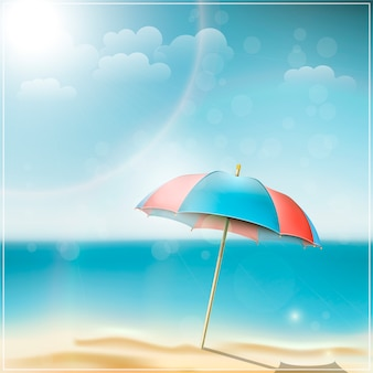Dia de verão na praia do oceano com guarda-chuva