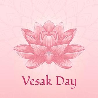 Dia de vesak com ilustração de flor de lótus