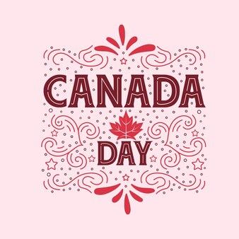 Dia do canadá, cartão de felicitações de tipografia para o dia do canadá