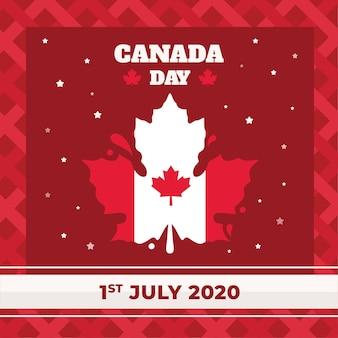 Dia do canadá com bandeira e folha de plátano