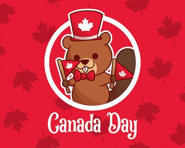 Dia do canadá com castor bonito