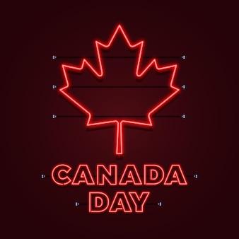 Dia do canadá com folha de bordo de néon