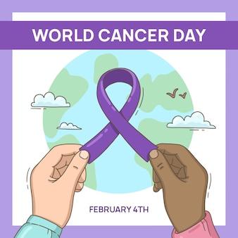 Dia do câncer no mundo da fita roxa plana