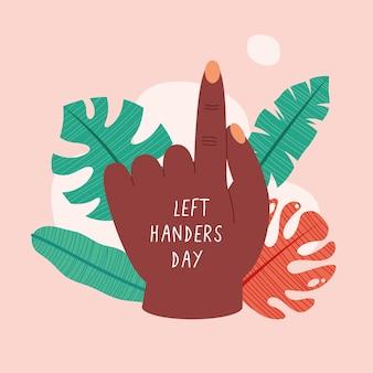 Dia do canhoto com mão negra e folhas