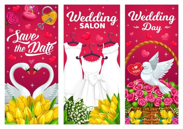 Dia do casamento, banners de casamento com vestidos de noiva, casal de cisnes e pomba branca.