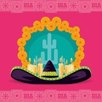Dia do chapéu mexicano do partido morto