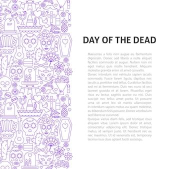 Dia do conceito de padrão de linha morta. ilustração em vetor de outline design.