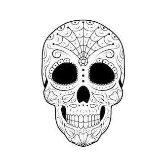 Dia do crânio de açúcar morto com ornamentos florais detalhados. calavera de símbolo mexicano.