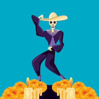 Dia do crânio de mariachi do partido morto