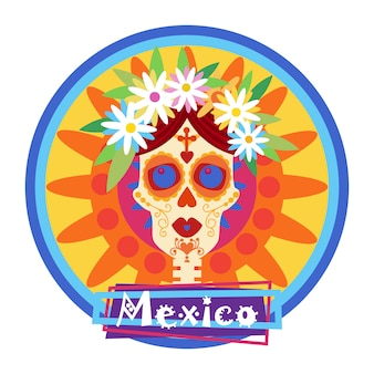 Dia do crânio do conceito morto halloween mexicano tradicional dia de los muertos feriado festa decoração banner convite