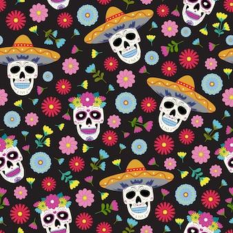 Dia do crânio morto com ornamentos florais e flores sem costura padrão