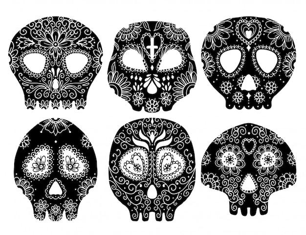 Dia do crânio morto. conjunto de ilustração vetorial. esqueleto de tatuagem.