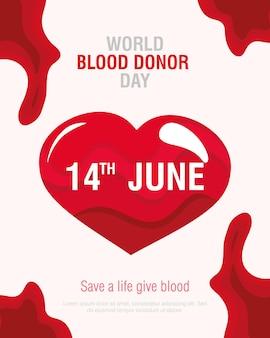 Dia do doador de sangue coração
