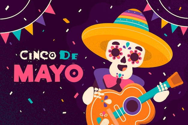 Dia do evento de design plano cinco de maio