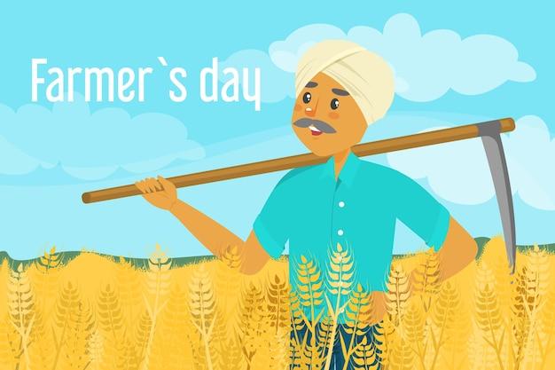 Dia do fazendeiro. feliz agricultor asiático em pé no campo de trigo e segurando uma foice.