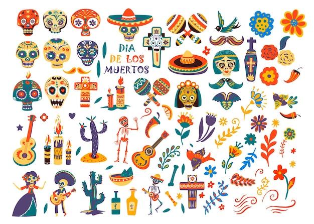 Dia do feriado mexicano morto, crânios e sombrero isolados