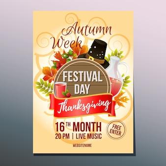 Dia do festival de ação de graças de outono