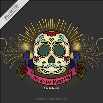 Dia do fundo morta com crânio e velas mexicano