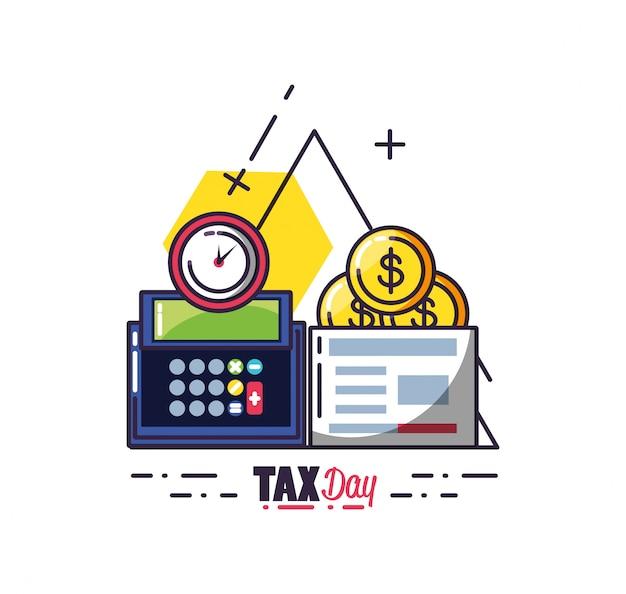 Dia do imposto com calculadora e conjunto de ícones