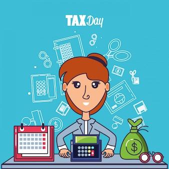 Dia do imposto com empresária e conjunto de ícones