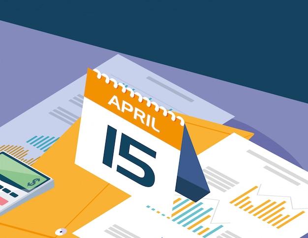 Dia do imposto com gráfico de calendário e estatísticas