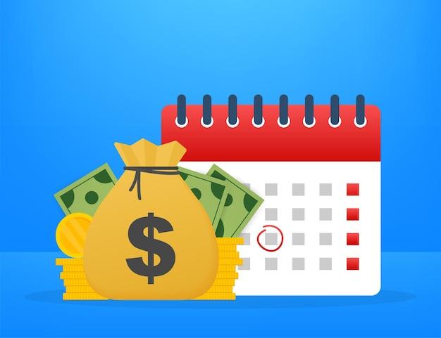 Dia do imposto. conceito de data de pagamento ou empréstimo do dia de pagamento como um calendário com dinheiro. ilustração vetorial.