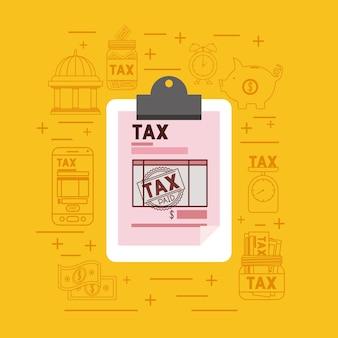 Dia do imposto conjunto de ícones