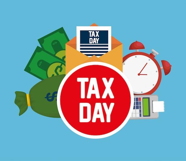 Dia do imposto. dataphone relatório fiscal com contas e relógio