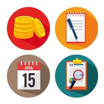 Dia do imposto definir o design de ilustração do vetor de ícones