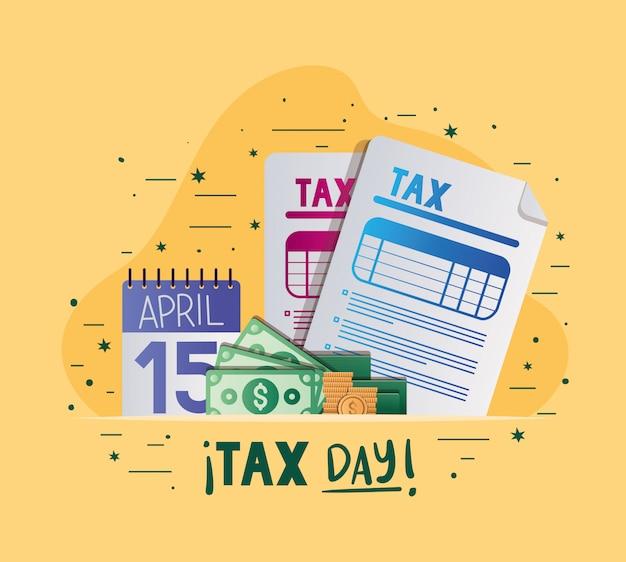 Dia do imposto documentos calendário contas e moedas vector design