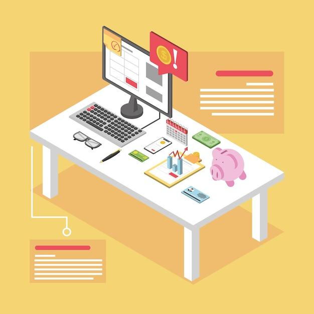 Dia do imposto, mesa com computador, envelope de cartão de banco, smartphone e ilustração de calendário isométrica