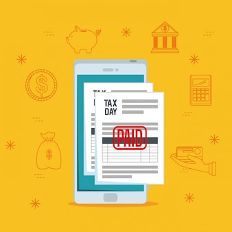 Dia do imposto. relatório de imposto sobre finanças de serviços com smartphone