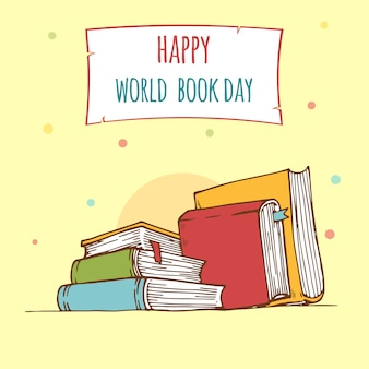Dia do livro do mundo. pilha de livros coloridos com o livro aberto no fundo da cerceta. ilustração em vetor educação.