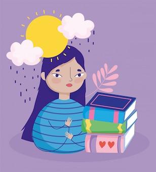 Dia do livro, menina adolescente com desenhos animados de dia chuvoso de livros