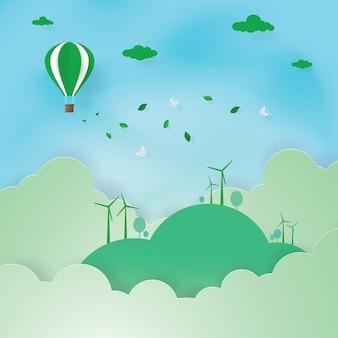 Dia do meio ambiente, energia verde, arte de papel, corte de papel, vetor de artesanato, design