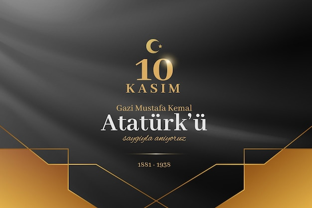 Dia do memorial de ataturk preto e dourado