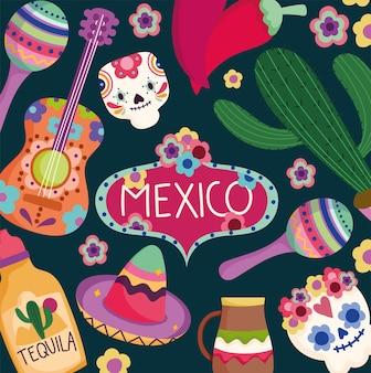 Dia do méxico da cultura morta tradicional tequila cacto crânio guitarra ilustração festiva de fundo