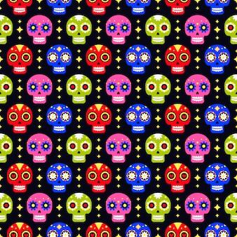 Dia do morto padrão sem emenda com caveira colorida