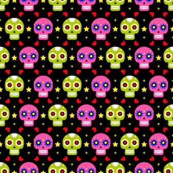 Dia do morto padrão sem emenda com caveiras coloridas em fundo escuro. design mexicano tradicional do dia das bruxas para a festa natalícia de dia de los muertos. ornamento do méxico.