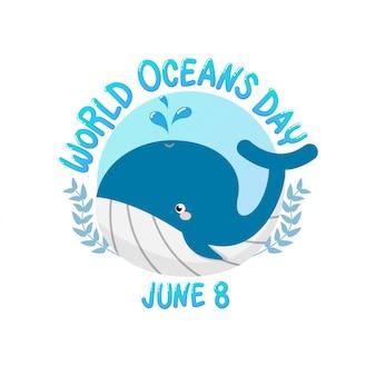 Dia do oceano do mundo com água do pulverizador da baleia no círculo.