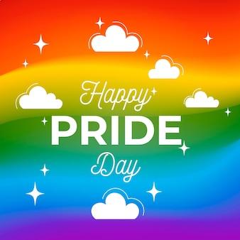 Dia do orgulho cores de fundo com nuvens